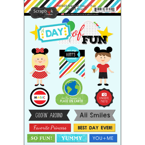 Magical Day of Fun Collection Doodad Scrapbook Sticker Sheet by Scrapbook Customs