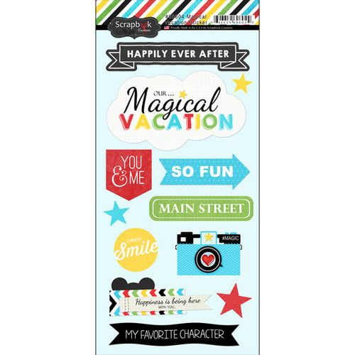 Magical Day of Fun Collection 5.5 x 11 Scrapbook Sticker Sheet by Scrapbook Customs