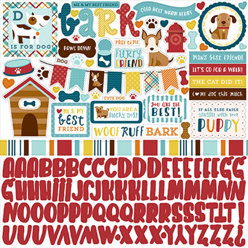 Bark Collection Element Sticker Dog Scrapbook 12 x 12 Sticker Sheet by Alisha Gordon & Echo Park Paper