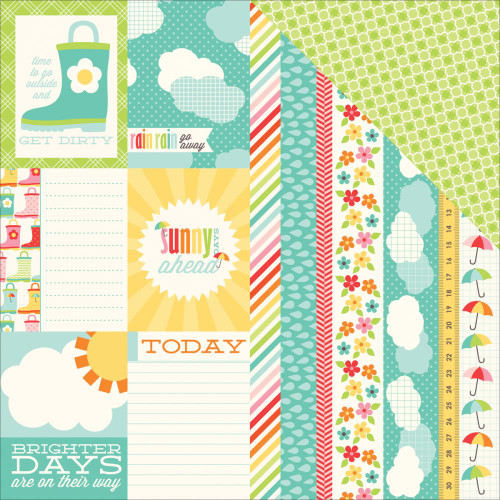 Sunny Days Ahead Collection Sun Ahead Double-Sided 12 x 12 Scrapbook Paper by Echo Park