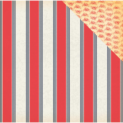 Yacht Club Collection Nautical Stripe 12 x 12 Double-Sided Scrapbook Paper by Carta Bella
