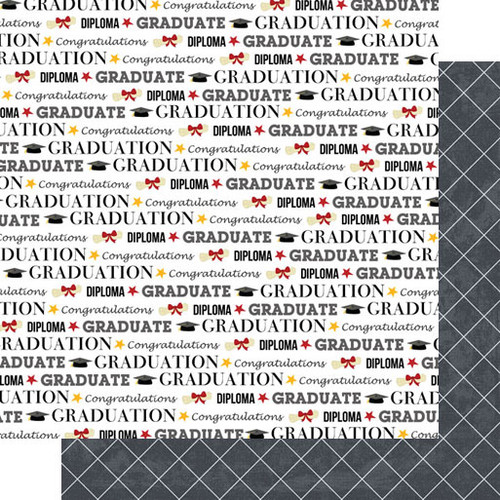 Graduation Day Collection Graduation Words Double-Sided 12 x 12 Scrapbook Paper by Scrapbook Customs