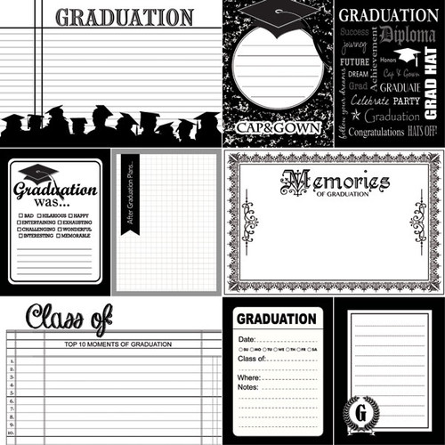 Graduation Day Collection Graduation Memories Double-Sided 12 x 12 Scrapbook Paper by Scrapbook Customs