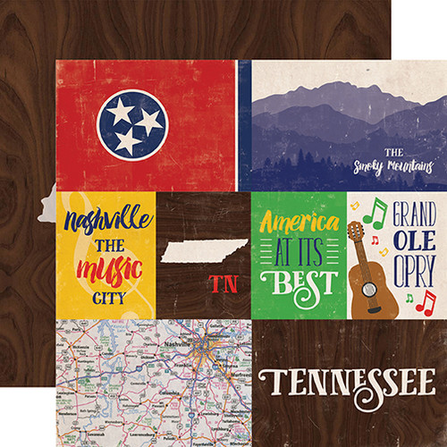 Stateside Collection Tennessee 12 x 12 Double-Sided Scrapbook Paper by Echo Park Paper