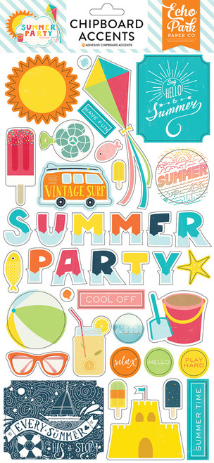 Summer Party Collection 6 x 12 Adhesive Chipboard Scrapbook Accents by Echo Park Paper