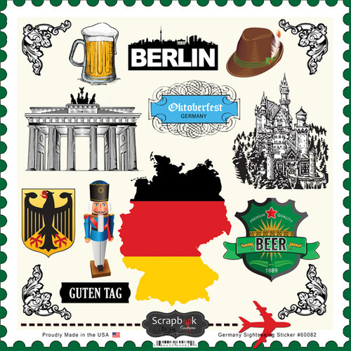 Sightseeing Collection Germany 12 x 12 Scrapbook Sticker Sheet by Scrapbook Customs