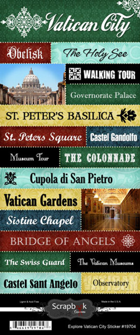 Explore Collection Vatican City 6 x 12 Scrapbook Sticker Sheet by Scrapbook Customs