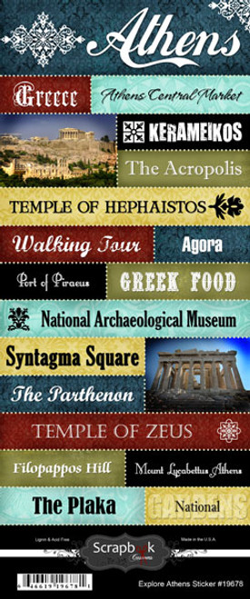 Explore Collection Athens Greece 6 x 12 Scrapbook Sticker Sheet by Scrapbook Customs