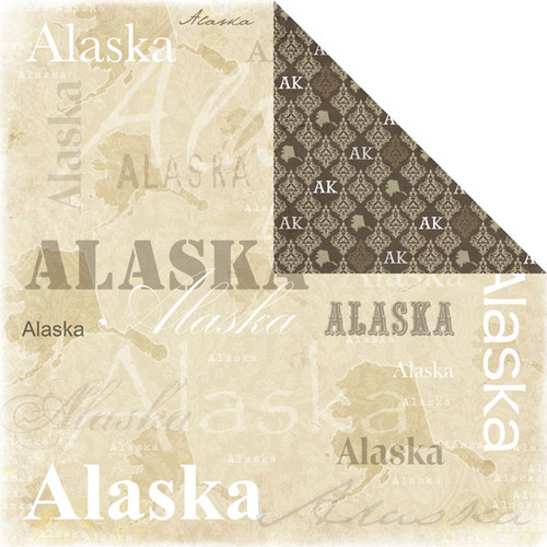 Lovely Travel Collection Alaska Double-Sided 12 x 12 Scrapbook Paper by Scrapbook Customs