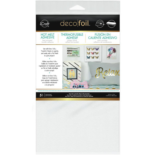 Deco Foil Hot Melt Adhesive Heat-Activated 5.5 x 12 Transfer Sheets by Thermoweb - 5 Pieces
