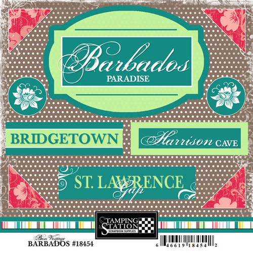 Bon Voyage Collection Barbados 6 x 6 Scrapbook Sticker Sheet by Scrapbook Customs