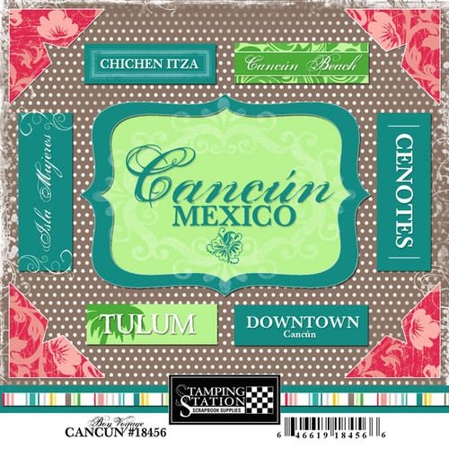Bon Voyage Collection Cancun, Mexico 6 x 6 Scrapbook Sticker Sheet by Scrapbook Customs