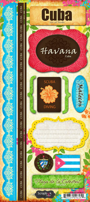 Paradise Collection Cuba 5.5 x 12 Cardstock Sticker Sheet by Scrapbook Customs