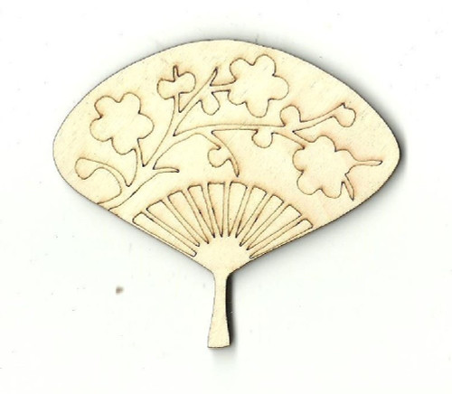 "Chinese Fan 2"" Laser Cut Wood Embellishment by The Wood Shape Store"