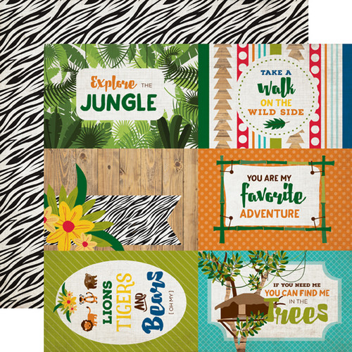 Jungle Safari Collection Journaling Cards 12 x 12 Double-Sided Scrapbook Paper by Echo Park Paper