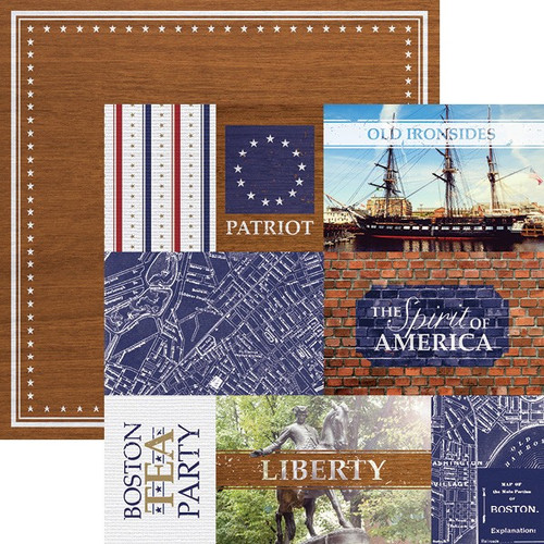 Let Freedom Ring Collection Boston Tags 12 x 12 Double-Sided Scrapbook Paper by Paper House Productions