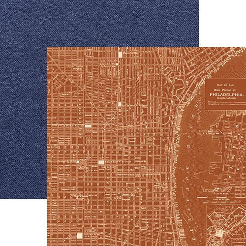 Let Freedom Ring Collection Philadelphia Map 12 x 12 Double-Sided Scrapbook Paper by Paper House Productions