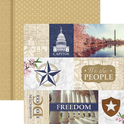 Let Freedom Ring Collection Washington, DC Tags 12 x 12 Double-Sided Scrapbook Paper by Paper House Productions
