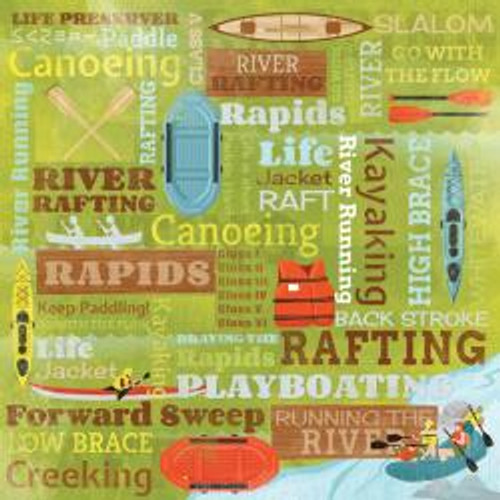 Down The River Collection River Running Collage 12 x 12 Scrapbook Paper by Karen Foster Design