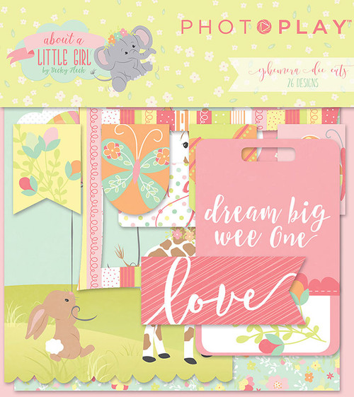 About A Little Girl Collection 5 x 5 Ephemera Scrapbook Die Cuts by Photoplay Paper - 26 Designs