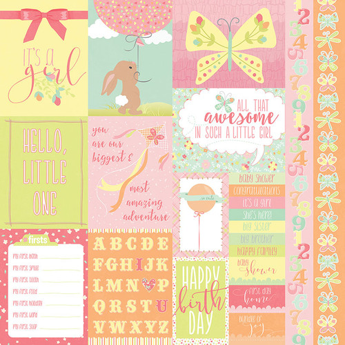 About A Little Girl Collection It's A Girl 12 x 12 Double-Sided Scrapbook Paper by Photoplay Paper