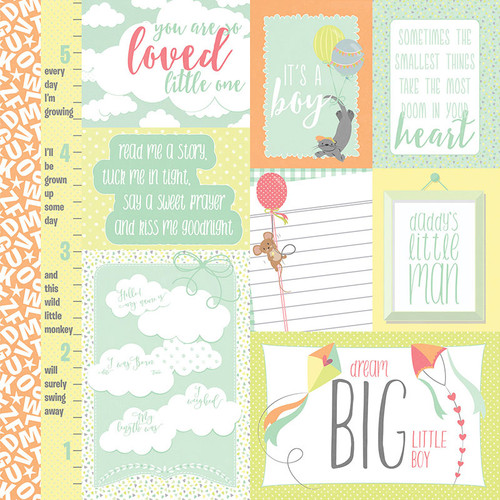 About A Little Boy Collection It's A Boy 12 x 12 Double-Sided Scrapbook Paper by Photoplay Paper