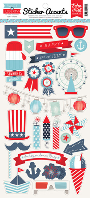 Sweet Liberty Collection Sticker Accents 6 x 12 Scrapbook Sticker Sheet by Echo Park Paper