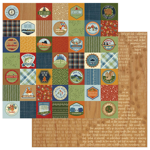 Campfire Collection Badges 12 x 12 Double-Sided Scrapbook Paper by Photo Play