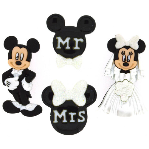 Disney Dress It Up Collection Mickey & Minnie Wedding Scrapbook Button Embellishments by Jesse James Buttons