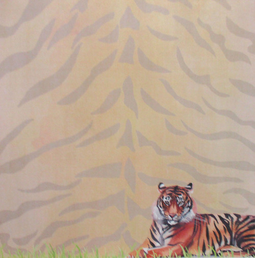 African Safari Collection Tiger Safari 12 x 12 Double-Sided Scrapbook Paper by Scrapbook Customs