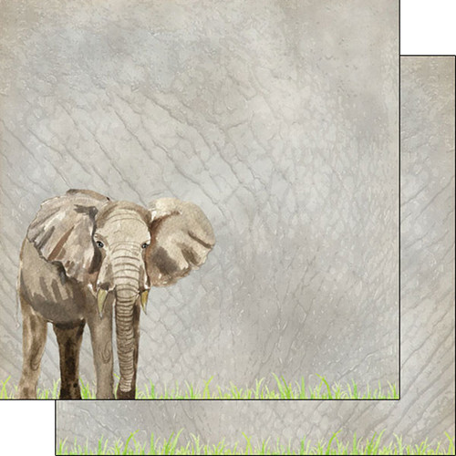 African Safari Collection Elephant Safari 12 x 12 Double-Sided Scrapbook Paper by Scrapbook Customs