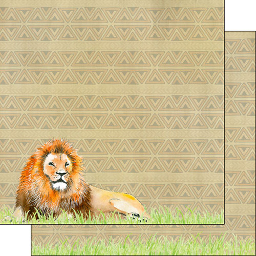 African Safari Collection Lion Safari 12 x 12 Double-Sided Scrapbook Paper by Scrapbook Customs