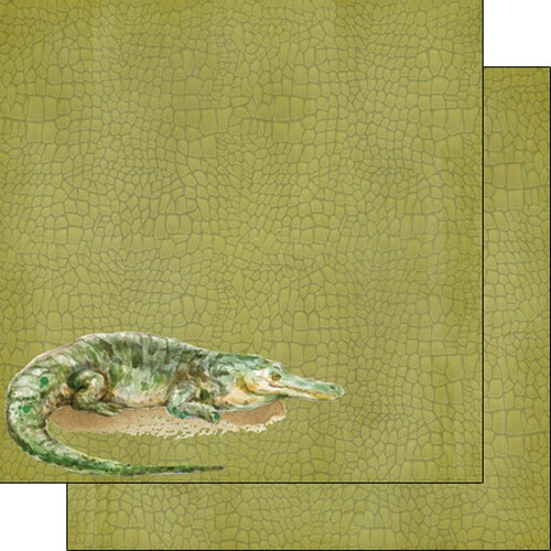 African Safari Collection Crocodile Safari 12 x 12 Double-Sided Scrapbook Paper by Scrapbook Customs