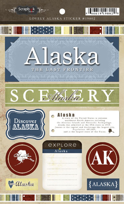 Lovely Travel Collection Alaska 5.5 x 8 Sticker Sheet by Scrapbook Customs