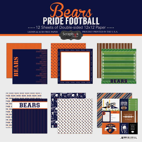Pride Football Collection Bears 12 x 12 Scrapbook Page Kit by Scrapbook Customs - 12 Papers