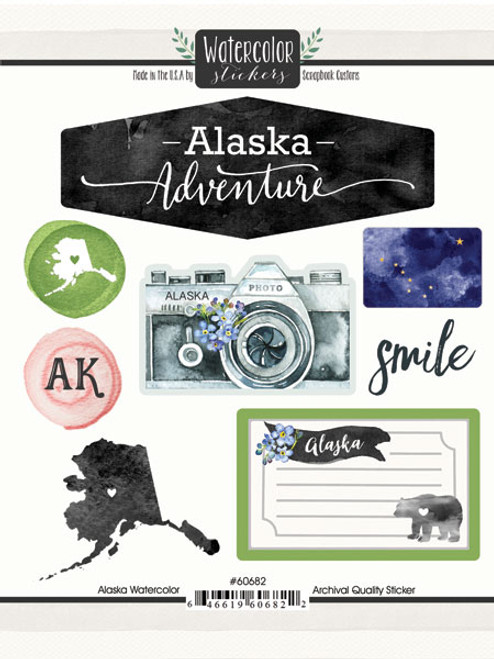 Watercolor Collection Alaska 6 x 8 Scrapbook Sticker Sheet by Scrapbook Customs