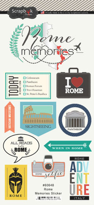 Travel Memories Collection Rome Memories 6 x 12 Scrapbook Sticker Sheet by Scrapbook Customs