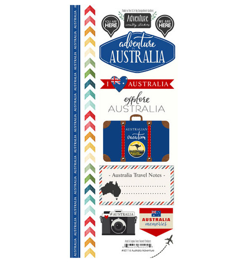 Travel Adventure Collection Australia Adventure 6 x 12 Scrapbook Sticker Sheet by Scrapbook Customs