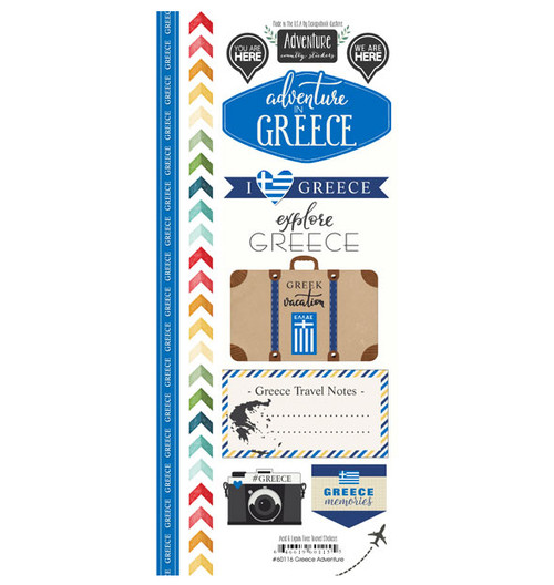 Travel Adventure Collection Greece Adventure 6 x 12 Scrapbook Sticker Sheet by Scrapbook Customs