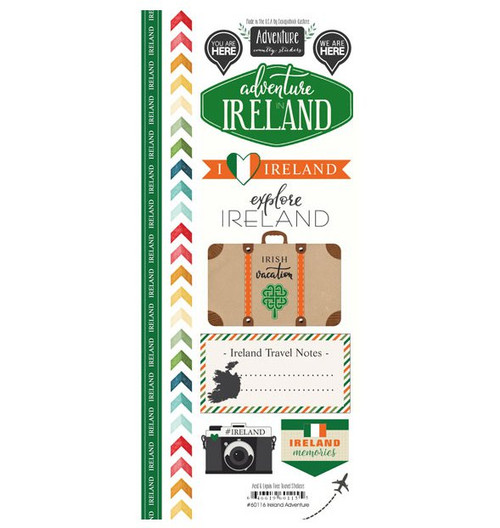Travel Adventure Collection Ireland Adventure 6 x 12 Scrapbook Sticker Sheet by Scrapbook Customs