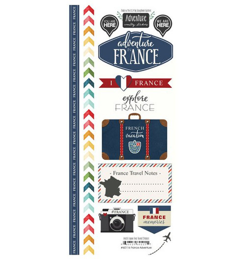 Travel Adventure Collection France Adventure 6 x 12 Scrapbook Sticker Sheet by Scrapbook Customs