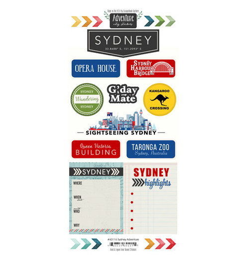Travel Adventure Collection Sydney, Australia Adventure 6 x 12 Scrapbook Sticker Sheet by Scrapbook Customs