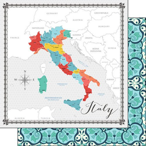 Travel Memories Collection Italy Map 12 x 12 Double-Sided Scrapbook Paper by Scrapbook Customs
