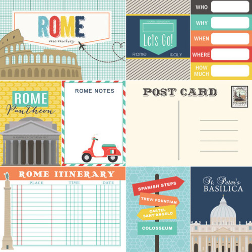 Travel Memories Collection Rome Journal 12 x 12 Double-Sided Scrapbook Paper by Scrapbook Customs