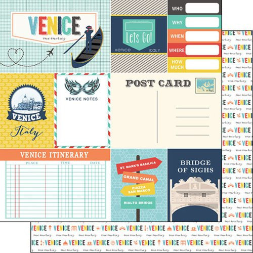 Travel Memories Collection Venice Journal 12 x 12 Double-Sided Scrapbook Paper by Scrapbook Customs