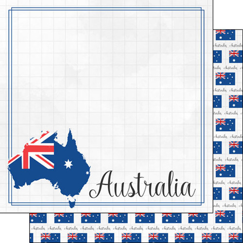 Travel Adventure Collection Australia Border 12 x 12 Scrapbook Paper by Scrapbook Customs