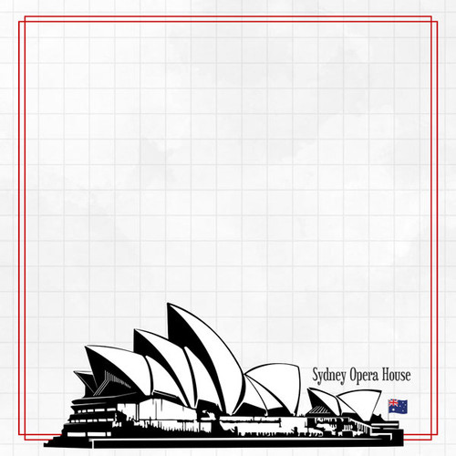 Travel Adventure Collection Sydney Opera House 12 x 12 Scrapbook Paper by Scrapbook Customs