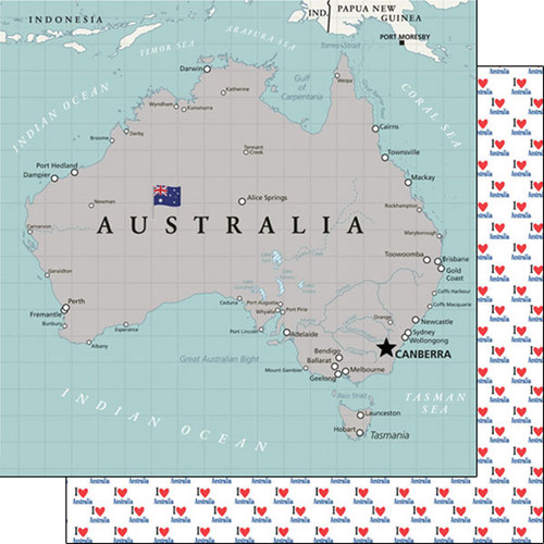 Travel Adventure Collection Australia Map 12 x 12 Scrapbook Paper by Scrapbook Customs