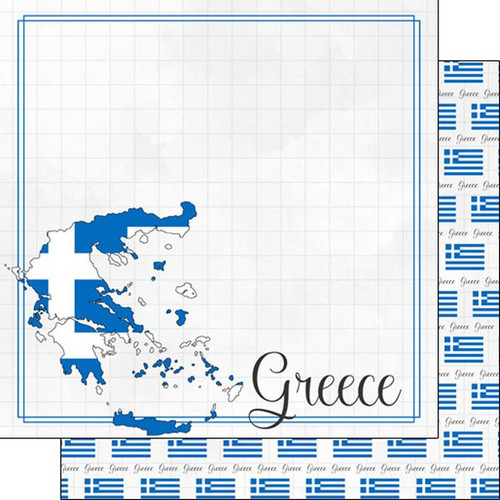 Travel Adventure Collection Greece Border 12 x 12 Double-Sided Scrapbook Paper by Scrapbook Customs