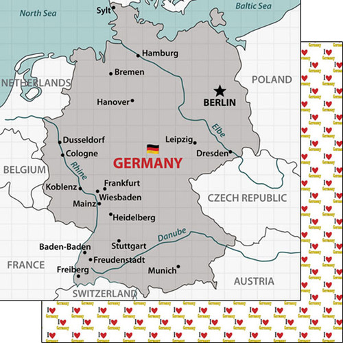 Travel Adventure Collection Germany Map 12 x 12 Double-Sided Scrapbook Paper by Scrapbook Customs